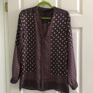 Blue/brown patterned blouse